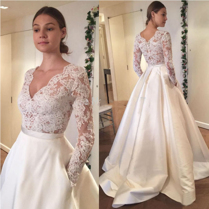 Buy satin skirt wedding dress 2017 v neck for Elegant long sleeve wedding dresses