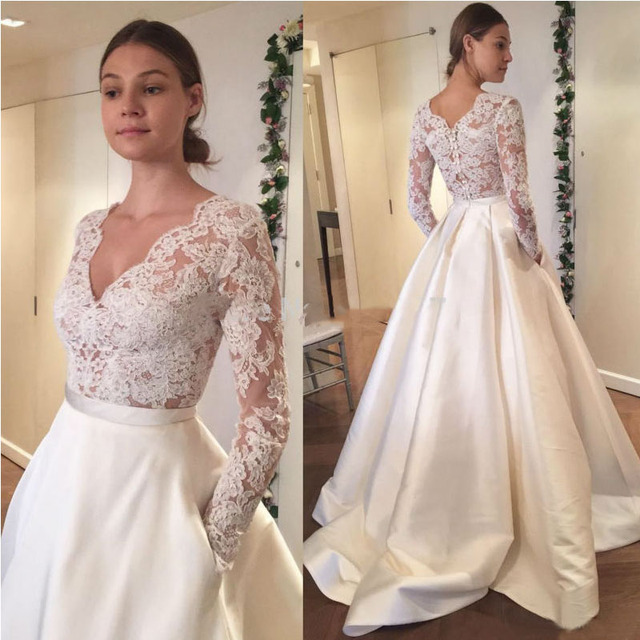 Satin Skirt Wedding Dress 2017 V neck Top Lace Long Sleeves Bride ...