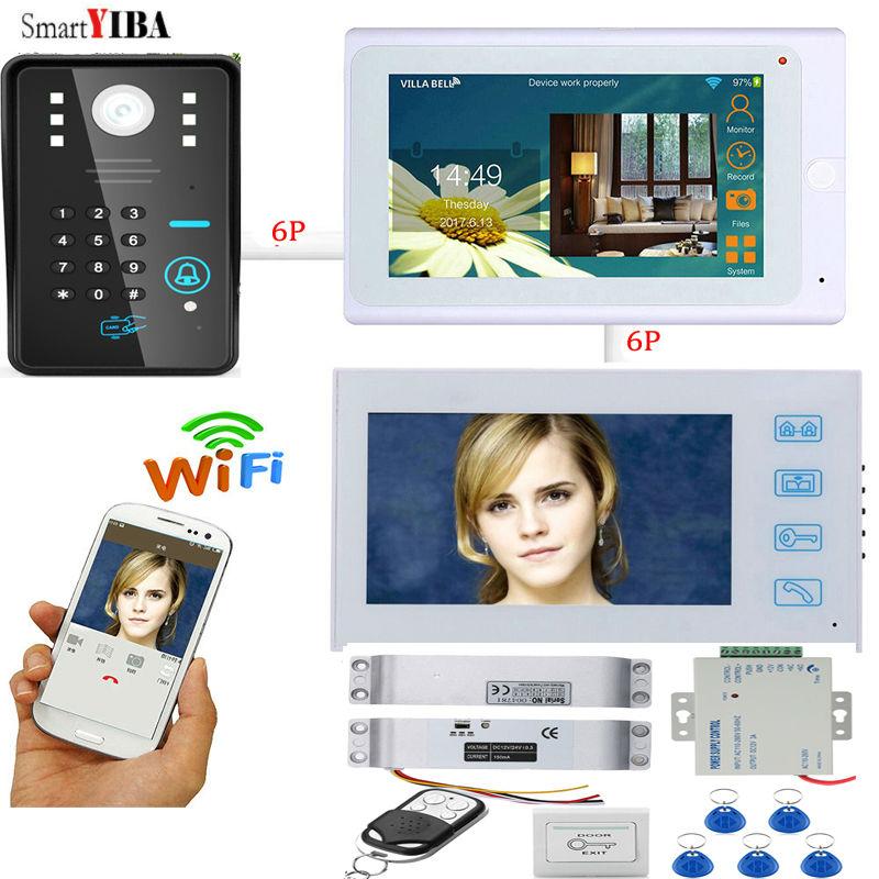 SmartYIBA IOS Andriod WIFI RFID Password Unlock  Door Phone 12V Power Supply Control Electric Drop Bolt Lock Doorbell Intercom