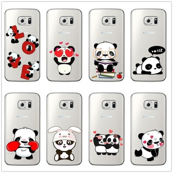 Cute Cartoon Animal Panda Clear soft Silicone Phone Case for Samsung Galaxy S6 S7 Edge S8 S9 Plus For note 8 9