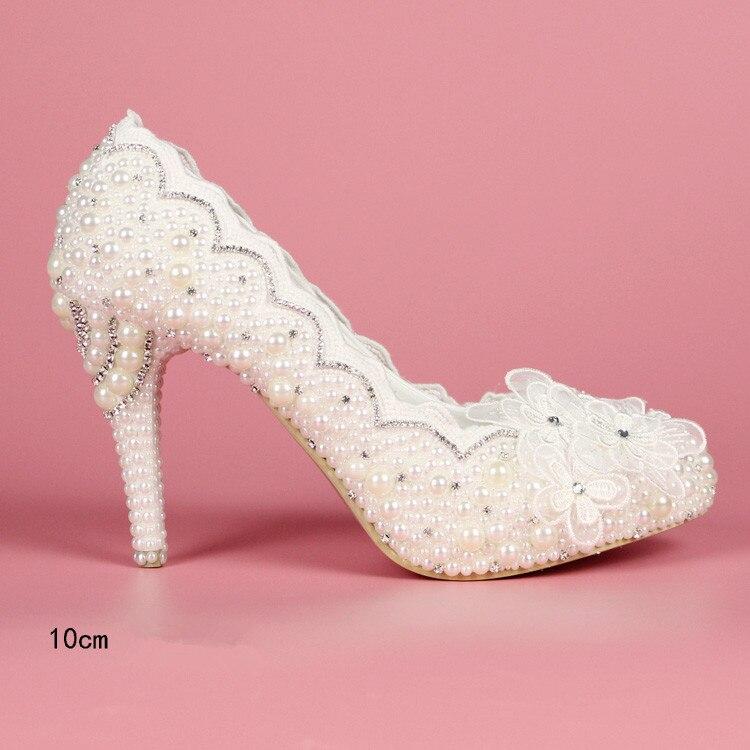 ФОТО White lace women plus size high heel wedding shoes bride crystal dress shoes handmade shoes women's waterproof platform shoes