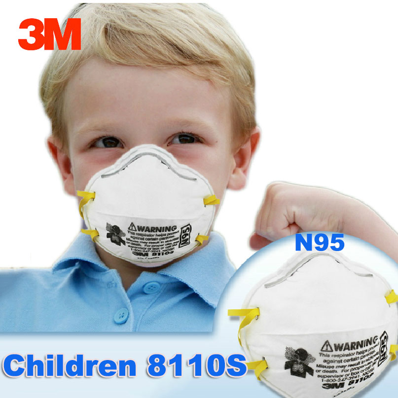 8110 de 3 M S N95 niños máscara de polvo Anti-partículas Anti-PM2.5 respirador partículas máscaras de seguridad pequeña tamaño m