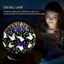 цены на 3 Style LED Glass Night Light luminaria Ball Shaped USB Lamp Colorful Table Night Light Gift Home Desk Lamp Decor  в интернет-магазинах