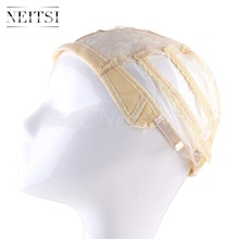 Neitsi Hot Selling Lace Wig Caps For Making Wigs With Adjustable Strap Bonnet Perruque New Nylon Hairnet Yellow# 1pcs/pack