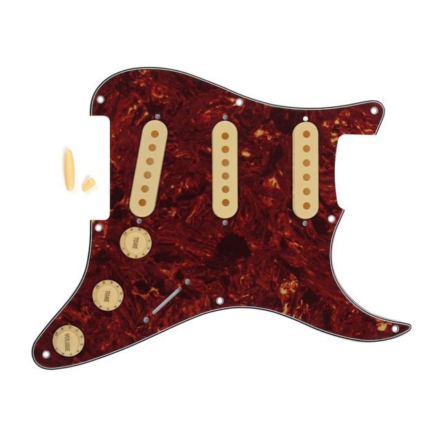 Set Of Red Tortoise 8 Holes Guitar Pickguard Sss Strat Pickup Covers