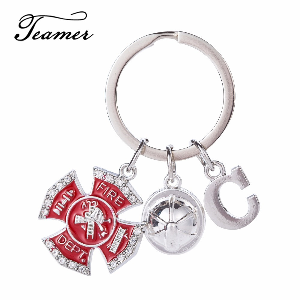 Generous Teamer 26 Letters New Arrival Dangle Keychain Silver Letter Fire Dept Helmet Charm Diy Jewelry Best Gift For Firefighters