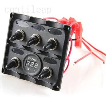 マリン電気ブルーledトグルスイッチパネル5ギャングで電圧計ソケットパネル12ボルトrvs