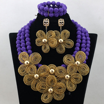 2017 Latest Purple Beaded Nigerian African Costume Jewelry Set Gold Flower Wedding Jewelry Set Handmade Free Shipping CNR483
