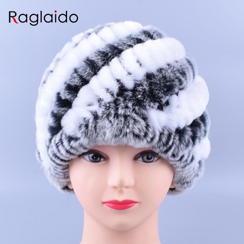 Raglaido nyúl szőrme sapka a nőknek Valódi rex szőrme sapkák divatos téli skullies babák LQ11169