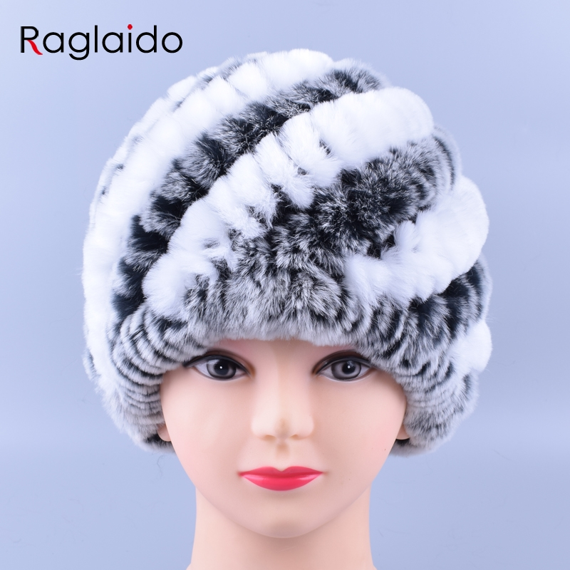 Raglaido Rabbit Fur Hats for Women Real Rex Fur Caps Fashion Winter   Skullies     Beanies   LQ11169