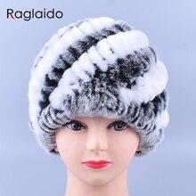 Raglaido кролика меховые шапки для женщин натуральный мех рекс шапки мода зимние skullies шапочки lq11169