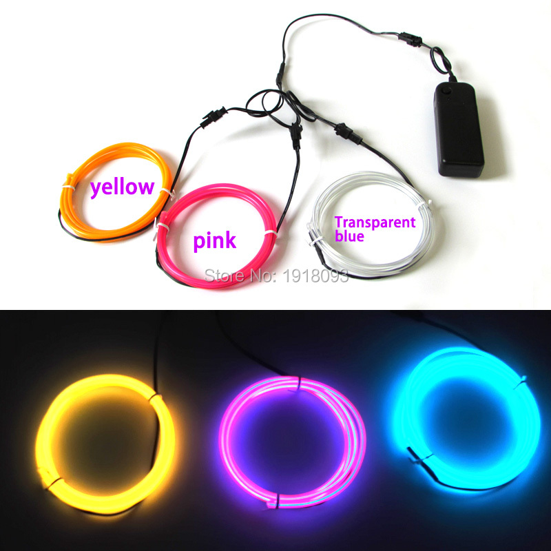 3.2mm 1M 3pieces multicolor el wire flexible neon With Festival Decor light Powered by DV-3V Drive LED StripFor Festival decor