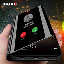 IMIDO Clear View Smart Mirror Phone Case For Redmi 7 Note7 6 5 Pro Fashion Flip Stand Leather Back Cover Go Coque Capa