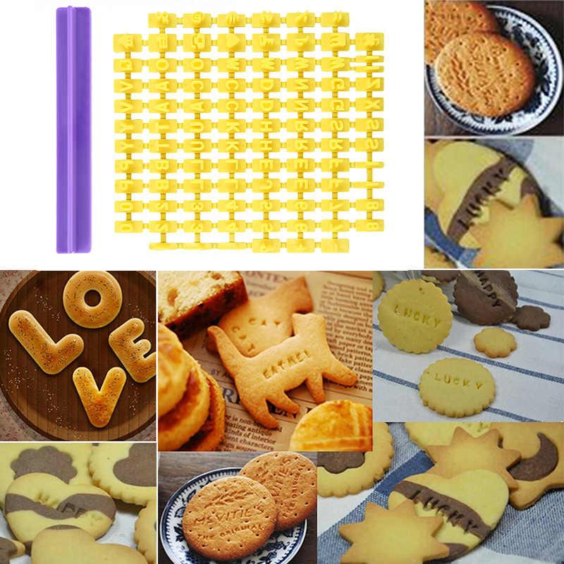 Hot Sale Abjad Huruf Nomor Tekan Cookie Stamp Pemotong Embosser Fondant Cetakan Kue Kue Cetakan Alat