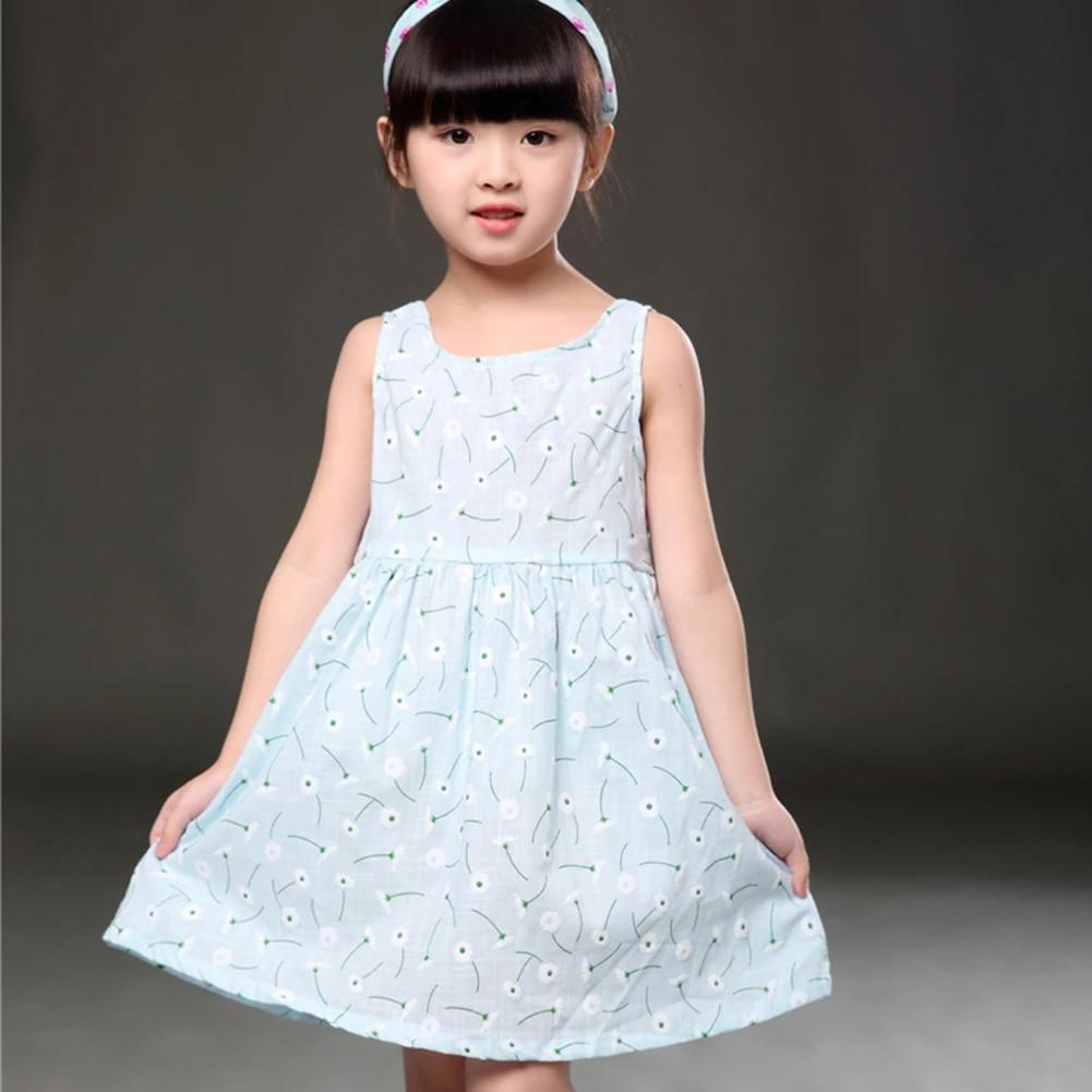 Fashion Kids Girls Sleeveless Flower Print Dress Soft Cotton Cute Princess Party Dress For Girls 2 To 11 Year Old Dresses For Girls Party Dresses For Girlsprincess Party Dress Aliexpress