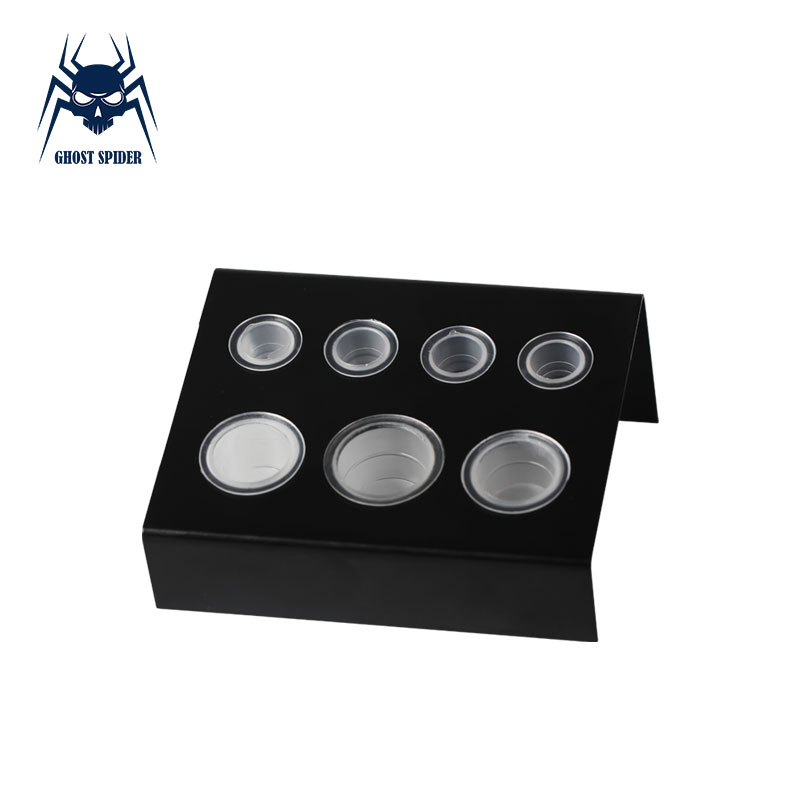 GHOST SPIDER Professional Black Stainless Steel Tattoo Cup Bracket Pigment Cap Holder Stand 7 Holes For Tattoo Ink Cup Supply