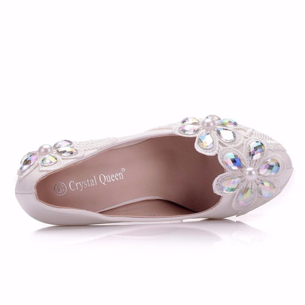 Encaje Damas Altos Reina Mujer A De Bombas Tacones Hechos Plat White Mujeres Redonda Zapatos Piedra Mano Cristal Novia Punta Boda Flores dqXv0pwxxI