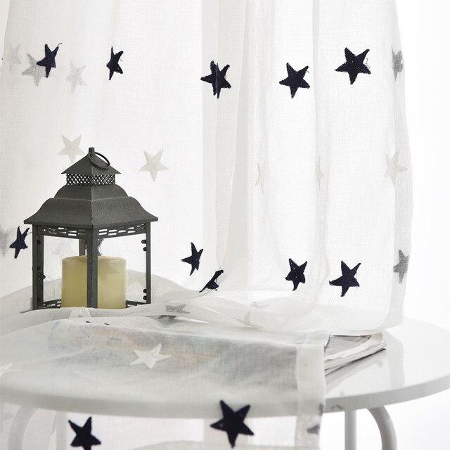 [Byetee] Tulle Sheer Tende Da Cucina Ricamato Organza Bambini Porte Per Bambini Camera Da Letto Soggiorno Stanza Del Bambino Finestra Tenda del Filato