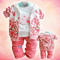 baby Girl's clothing set Rose flower casual autumn Children's suit set hoody jacket + long sleeve shirts + pant baby 100% cotton