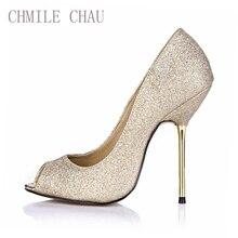 купить Women Shoes  High Heels 6 Colors Plus Size 35-43 Wedding Evening Shoes Peep Toe Shallow Heels  Iron Heel Women Pumps 3845-a6 по цене 1834.69 рублей