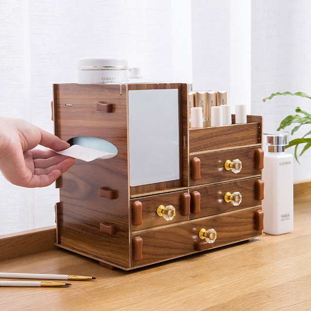 Wooden Cosmetic Storage Box Drawers Type With Mirror Dressing Table Makeup Storage Rack Multi Layers Lipstick Organizer Shelves