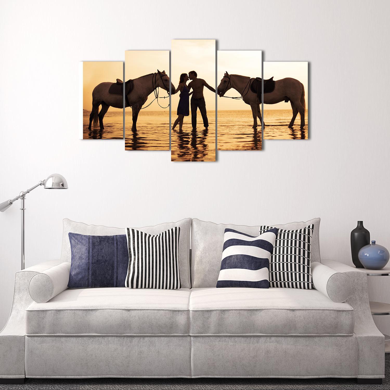 Horse sticker wall art - 5 Panels Hd Printed Sea Horse Couples Wall Art Painting Canvas Print Room Decor Print Poster