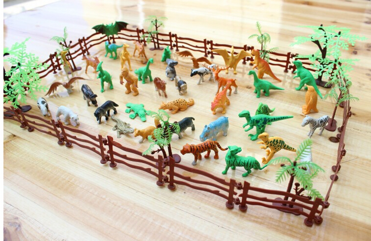 Animals Simulation Zoo Small Plastic Containing Solid Fence Animales Plastico Dinosaur Toys For Kid Children 68pcs/set
