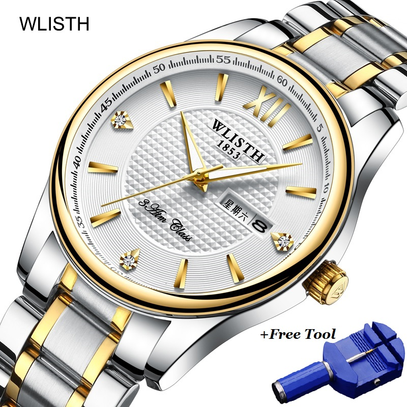 WLISTH Dual Date Week Watch Men Waterproof Business Man Diamond Luxury Steel Quartz Mens Couple Watches Dropshipping 2019
