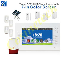 2014 Brand New 7 inch touch screen intelligent 868MHZ GSM850/900/1800/1900Mhz alarm system with remote control,PIR sensor