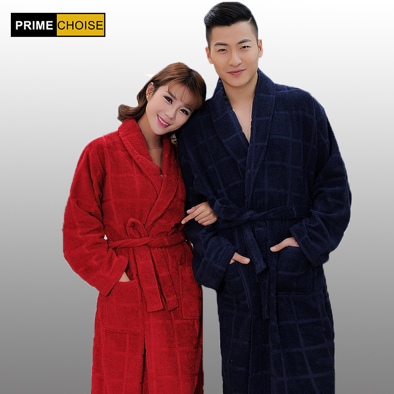 Top Brand 100 terry cotton dark color bathrobes thickening robe comfortable home robe