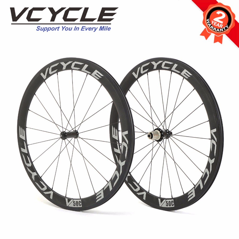VCYCLE 50mm Clincher Carbon Wheelset 700C Straight Pull Road Bicycle Wheels Racing Road Bike Wheelset with Powerway R36 Hub carbon wheels 700c 25mm width 38mm clincher racing bicycle wheels road bike carbon wheelset clincher with powerway r51 hub