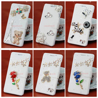 TZ For Iphone 5C Case Broken Glass Diamond Tower Bling Bling Butterfly Leather Case For Iphone