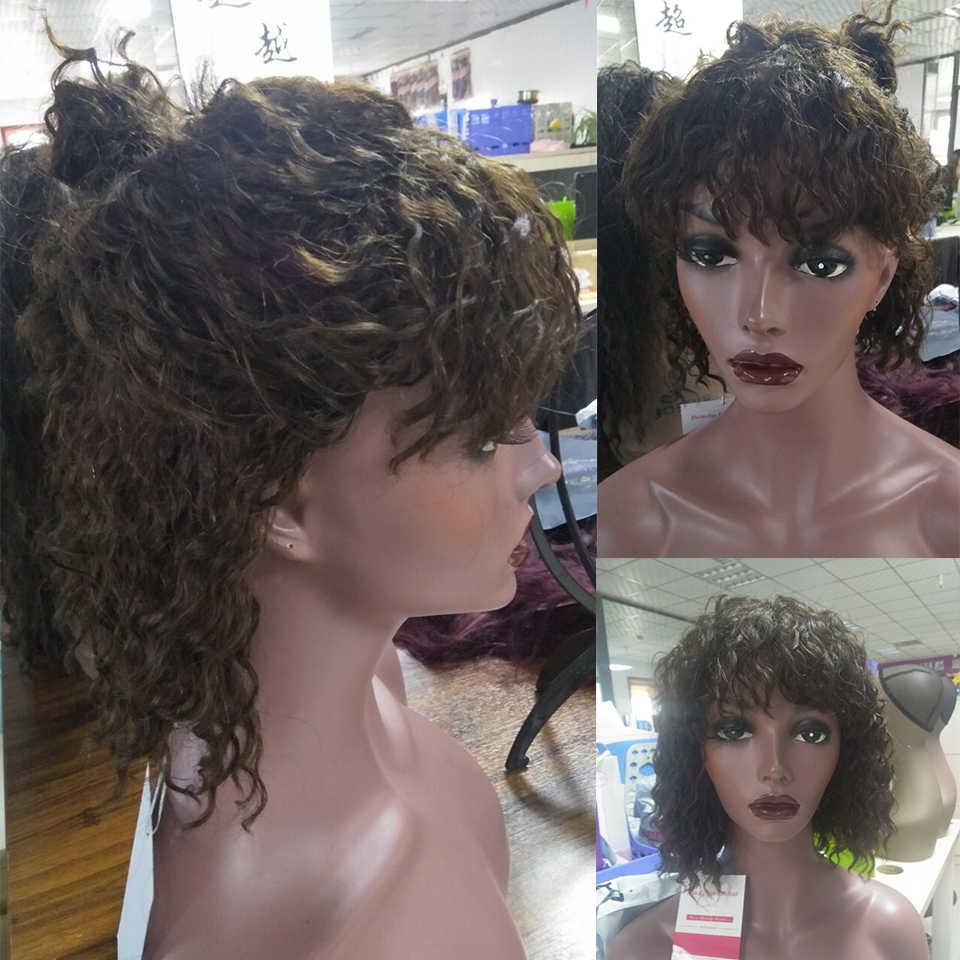 Глубокая волна человеческих волос парик с челкой бразильский Remy 100% человеческих волос парики 2/4 цвет без запаха короткий парик-Боб полный конец x-элементы