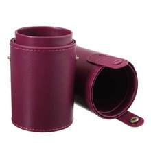 New Empty Portable Makeup Brush Round Pen Holder Cosmetic Tool PU Leather Cup Container Solid Colors 4 Optional Case