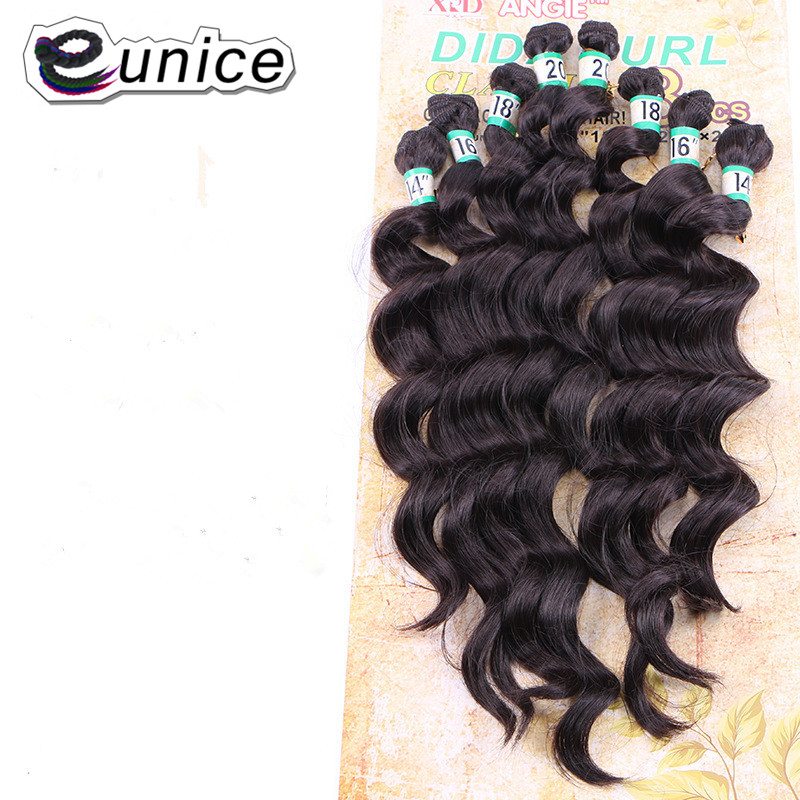 Eunice Hair loose wave bundles ombre Synthetic Hair Weave Heat Resistant Sew in Hair Extensions 8pcs/pack (1pack full one head) ...