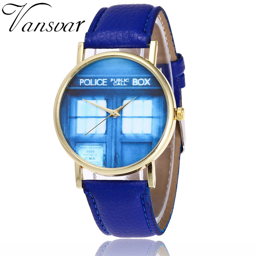 Vansvar Brand Fashion Doctor Who Watch Casual Women Tardis Wrist Watch Leather Phone Booth Quarzt Watches Relogio Feminino 2098 vansvar fashion good things are going to happen watch casual women quotes wrist watch leather quarzt watch relogio feminino v29