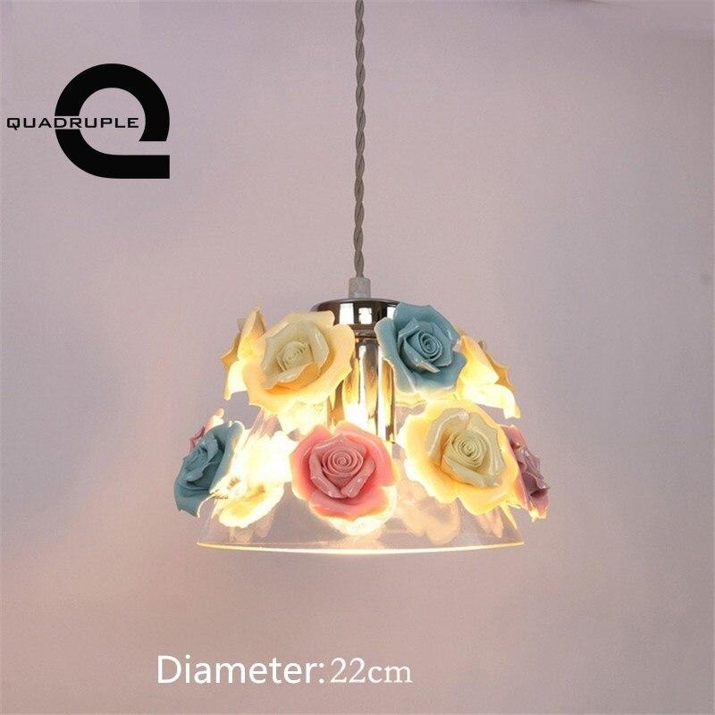 Quadruple Ceramic Flowers Pendant Lights Nordic Style Glass Art Pendant Lamp Dining Room Kitchen Hanging Light Fixtures Decor цена