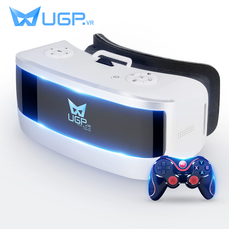 UGP H1 VR Glasses All In One 5.5 Inch 3D Virtual Reality Glasses Eight Core With Bluetooth Gamepad For Movie Cinema ALL VR Game 3d vr box virtual reality goggles h2 android 2560 1440p all in one vr glasses helmet video movie game wireless bluetooth gamepad