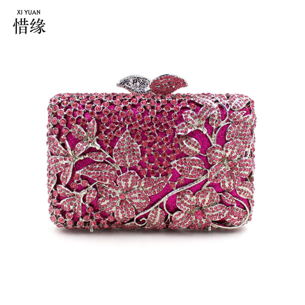 fe444c75076a XIYUAN BRAND pink Crystal Evening Wedding Prom Box blue Clutch Handbag  Purse Metal silver Hard Case Clutches Bag for cocktail