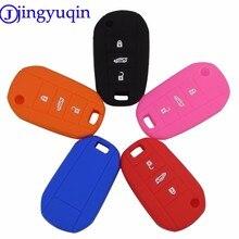 Jingyuqin-funda de silicona con 3 botones para coche, carcasa con tapa para llave, 10p, para Peugeot 208, 508, 2008, Citroen C4L, CACTUS C5, C3, C6, C8, Picasso, Xsara