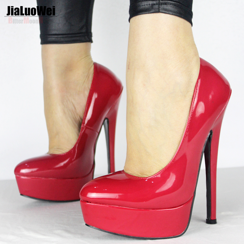 ФОТО Jialuowei New Design Women Pumps Sexy High Heel Red bottom Pointed Toe Platform Lady Thin Heels Shoes Woman Wedding Party Shoes
