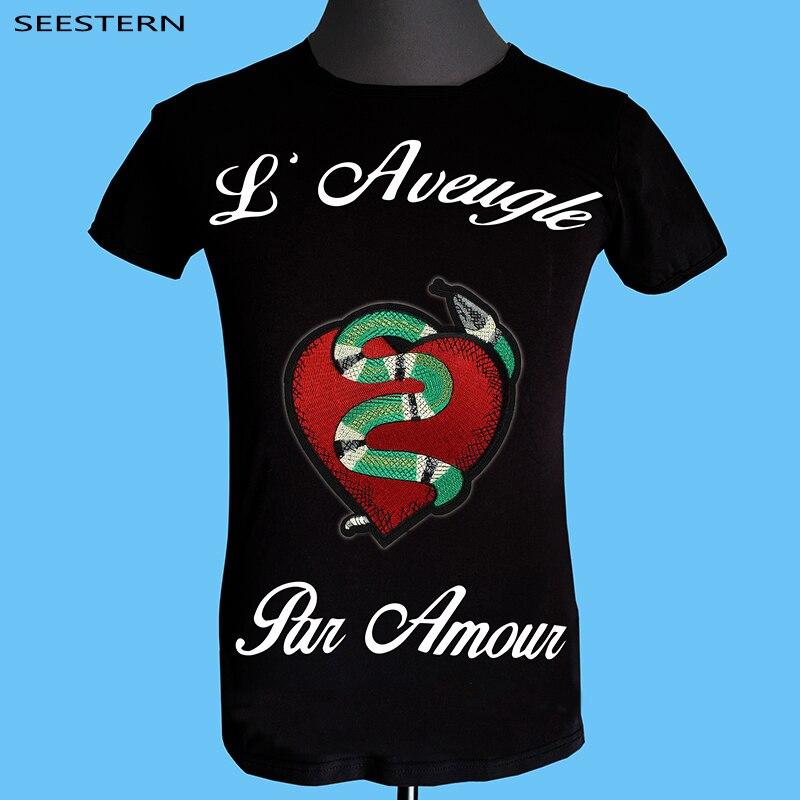 Seestern marca ropa blind for love hombres camiseta bordado leopardo ... 856115c27c5