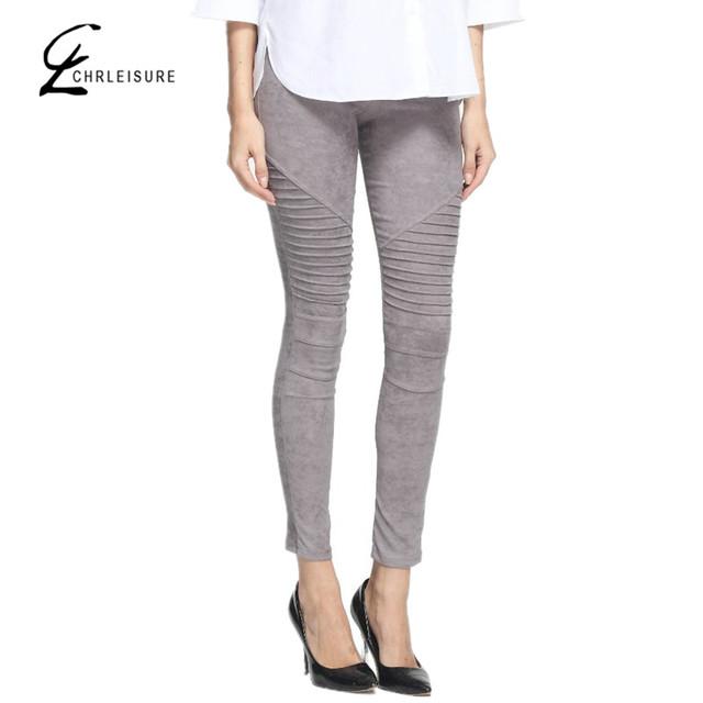 XS-XL Calças Lápis de Cintura Alta Moda Feminina Push Up Calça Fina Moda da Camurça Do Falso Skinny Estiramento Calças Calças Mulheres Negras