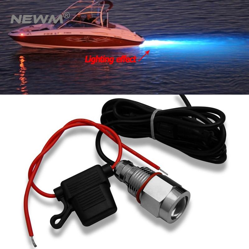 1X Red White Green Blue Led Drain Plug Light 9W Underwater Boat Marine Yacht Transom Fishing Diving