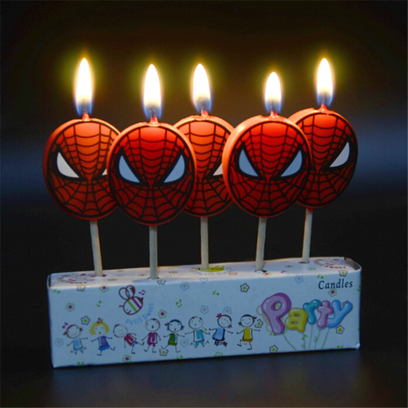 5pcs/set Spiderman Birthday Craft Candles Cupcake Candle Toppers For Kids Birthday Candles Party Decorations Party Supplies
