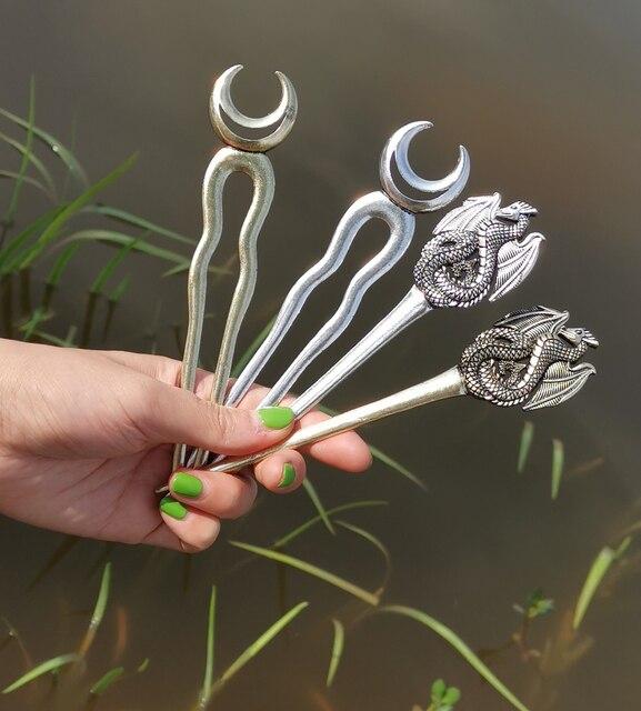 Wicca bâtons de cheveux Viking Renaissance Dragon bâtons de cheveux Dragon lune serpent épingle à cheveux accessoires de cheveux bijoux 5