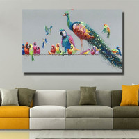 Handpainted Abstract Animal Canvas Paintings Large Colorful Birds Oil Painting Home Decor Wall Art Peacock Peahen Parrot Picture