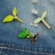 Zhijia Bean sprouts seedling Enamel Pins And Brooches Natural green tree plant badge brooches for girls