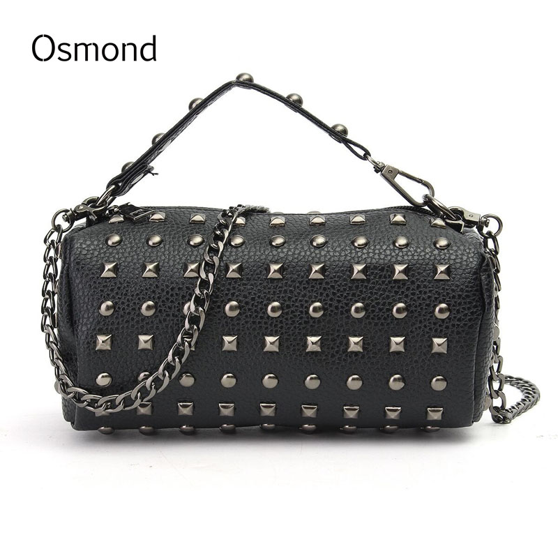Osmond Women Chain Rivet Handbags Luxury Bucket Bag Brand Small Round Bag Leather Crossbody Tote Ladies Shoulder Bag Black Punk все цены