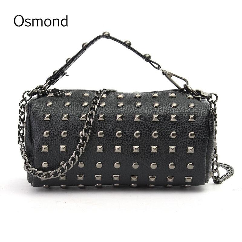 Osmond Women Chain Rivet Handbags Luxury Bucket Bag Brand Small Round Bag Leather Crossbody Tote Ladies Shoulder Bag Black Punk pumping bucket bag rivet handbags mini bucket bag